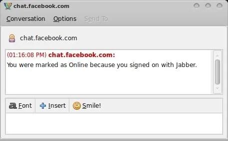 Tampilan setelah login ke FB Chat dengan Pidgin