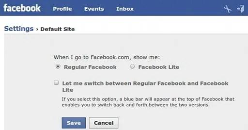 Set Facebook Lite sebagai default