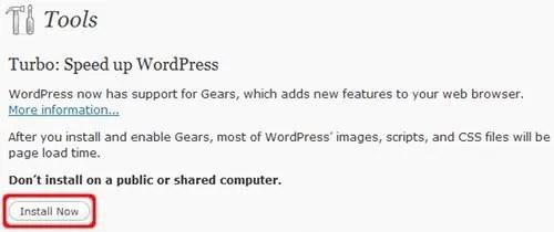 Aktifkan Google Gears pada WordPress untuk meningkatkan kinerja