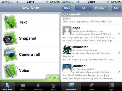 Tampilan Evernote dan WordPress Mobile