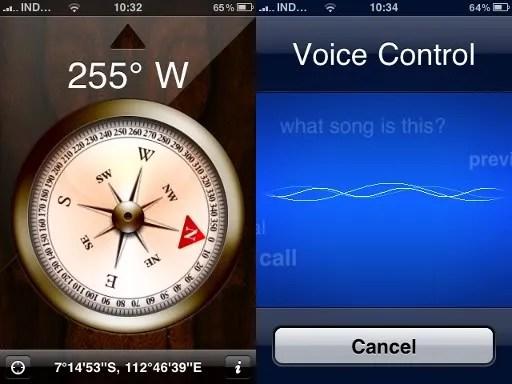 Tampilan kompas digital dan kontrol suara