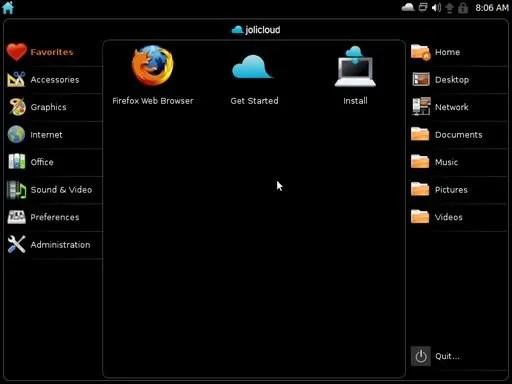 Tampilan desktop Jolicloud yang mirip UNR