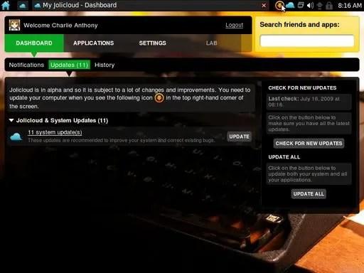 Dashboard Jolicloud Homebase