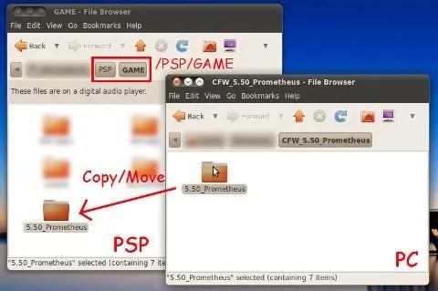 Pindahkan direktori 5.50_Prometheus ke direktori /PSP/GAME pada Memory Stick