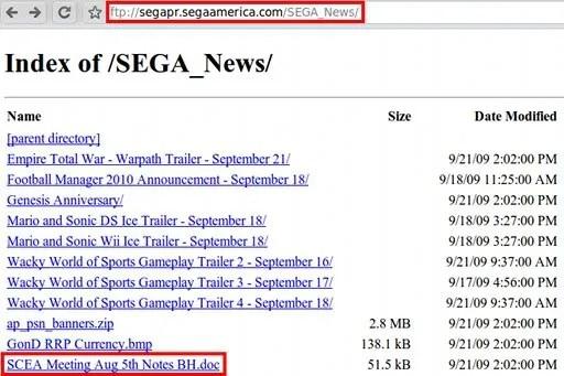 Dokumen rahasia SEGA-SCEA?