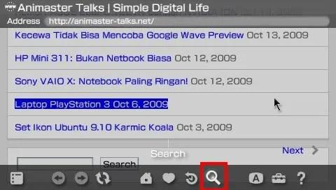 Tombol Search untuk pencarian cepat pada browser PSP