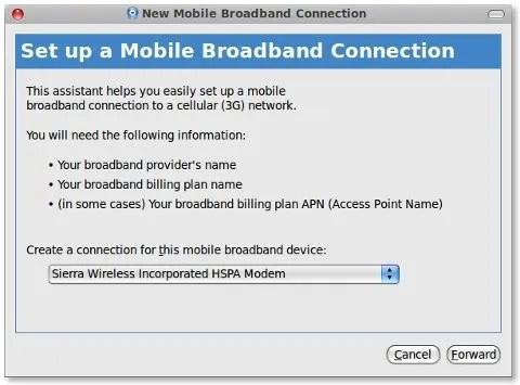 Tampilan pemandu konfigurasi modem mobile broadband