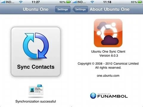Sinkronisasi data kontak iPhone dengan Ubuntu One