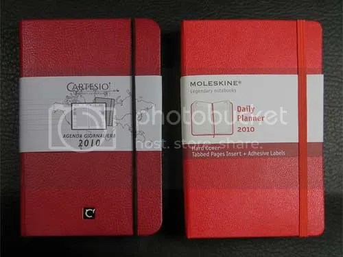 Cartesio and Moleskine daily planners are compare for form and function.
