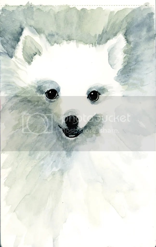 My dog Frosti was painted in my Moleskine Watercolor Journal using watercolor and a pigment liner.