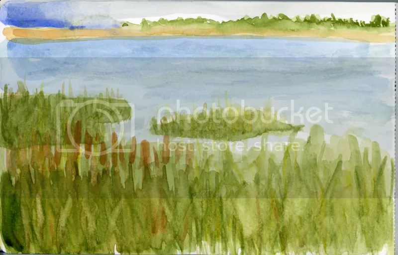 Quick Watercolor Sketch of the River Banks at Jekyll Island.