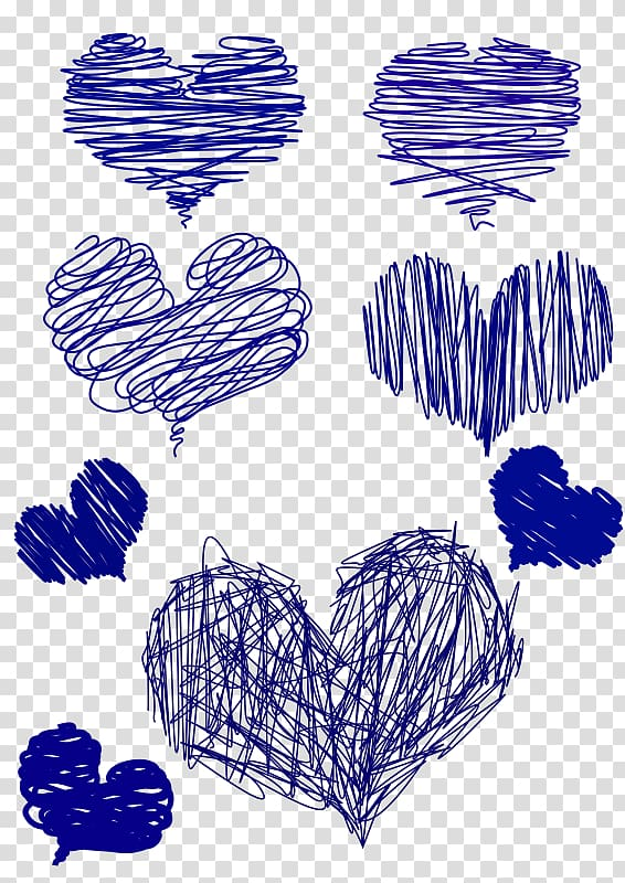 Drawing Heart Blue Drawn Transparent Background Png Clipart