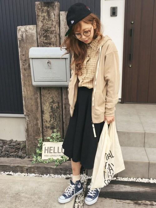 清水夏姫のスカート「起毛フレアミディスカート」を使ったコーディネート