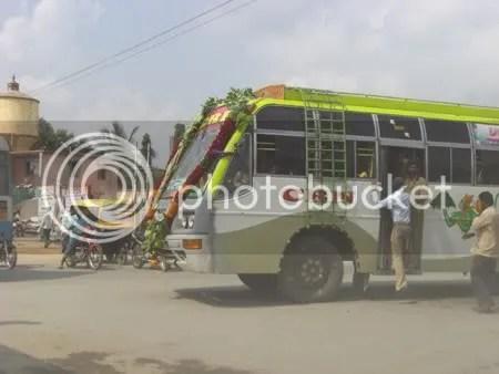 Happy Poojafied Bus