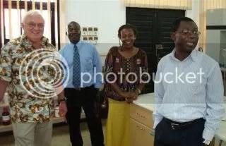 Vernon Gracen, Eric Danquah, Dorothy Mukhebi, Sam Offei at WACCIs biotech lab in Ghana