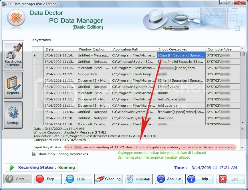 Keylogger PC Data Manager