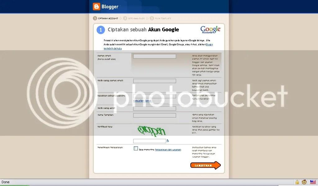 Form pembuatan akun blog