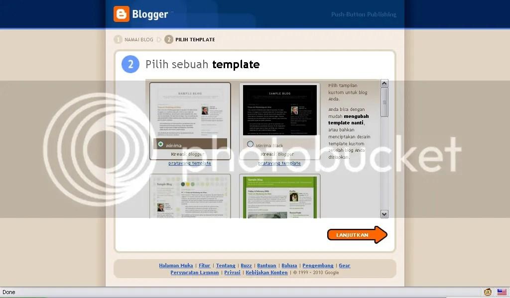 Pilih template blog yang disukai