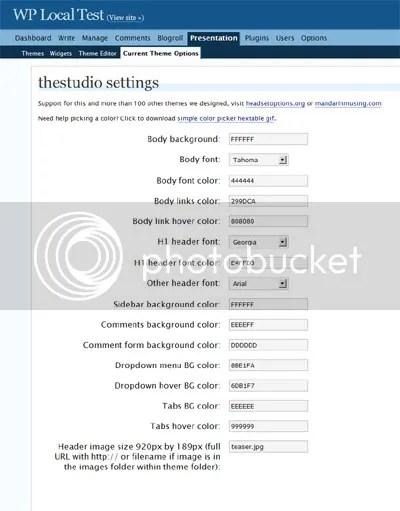 The Studio: options edit page