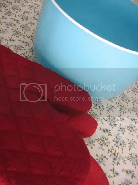 bowl and oven mitts