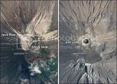 Ol Doinyo Lengai - left: 16 July 2004, right: 12 September 2009 (NASA imagery)