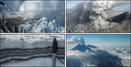 Montage of Redoubt volcano 2009 eruption images (all courtesy AVO/USGS)