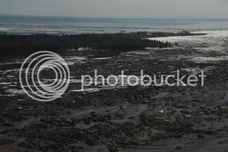 Lahar deposits in the lower Drift River valley, north of DROT (photographer Chris Waythomas, image courtesy AVO/USGS)