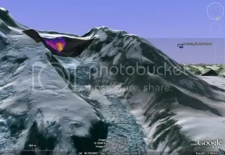 FLIR image of Redoubt summit showing thermal signature of the lava dome (Rick Wessels/Jonathan Dehn, courtesy AVO/USGS and AVO/UAF-GI)