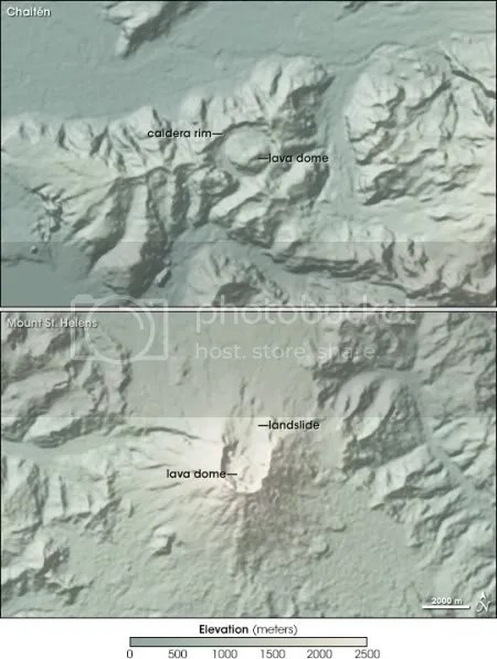 Comparison of Chaiten and Mount St Helens (NASA)