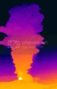 Thermal image of Galeras eruption 20 November 2009 (copyright INGEOMINAS)