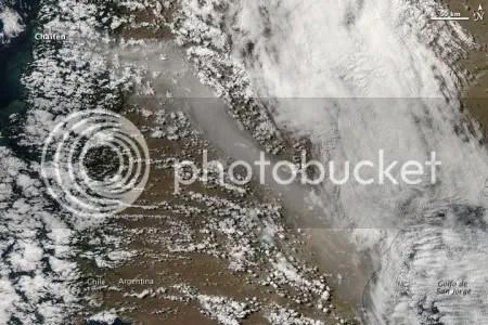 Eruption of Chaiten volcano, 19 February 2009 (NASA MODIS image).