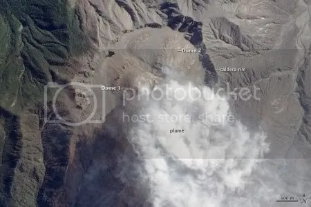 Lava domes, Chaiten volcano, 30 September 2009 (NASA EO-1 ALI image, courtesy NASA Earth Observatory)