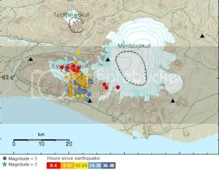 Eyjafjallajokull earthquakes, 3 March 2010, 20:10 GMT (Iceland Meteorological Office map)
