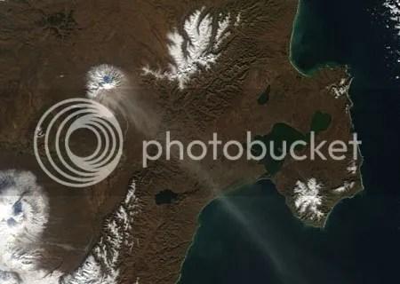 Shiveluch erupting 2004 (NASA)