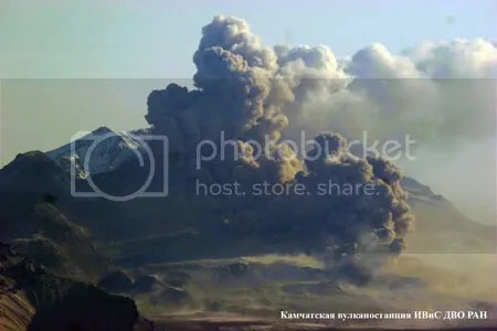 Ash explosions at Molody Shiveluch lava dome, Shiveluch volcano, Kamchatka, 27 April 2009 (photograph Yu. Demyanchuk, courtesy KVERT)