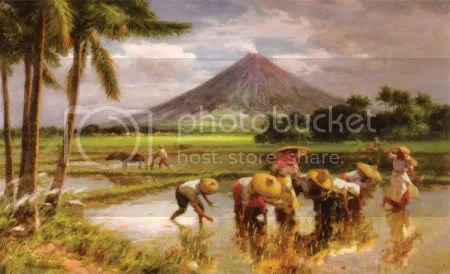 Fernando Amorsolo, 'Planting Rice with Mayon Volcano' (1949)