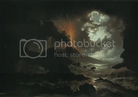Joseph Rebell, 'Eruption of Vesuvius at Night' (1822)