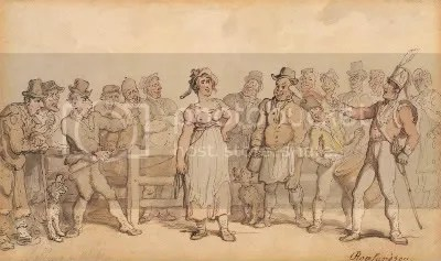 circa 1812 Thomas Rowlandson cartoon of a man exhibiting his wife for sale wearing a halter.