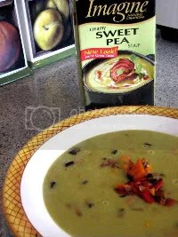 Imagine Pea Soup with Roasted Red and Yellow Peppers