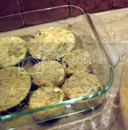 Preparing Breaded Eggplant for Baking