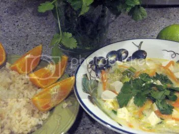 Thai Coconut Shrimp Soup with Basmati Rice and Orange Slices