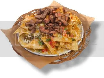 Typical Restaurant Meal of Cheesy Beef Nachos