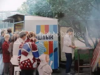 lining up for shashlik, gorky park, moscow