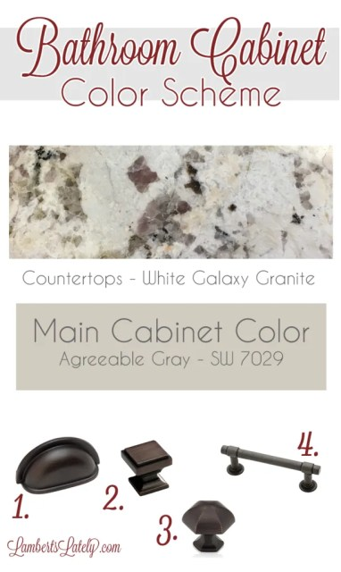 Bathroom Cabinet Color Scheme || Neutral Color Scheme || Bronze Fixtures || White Galaxy Granite|| Agreeable Gray || Sherwin Williams || Farmhouse Bathroom Ideas