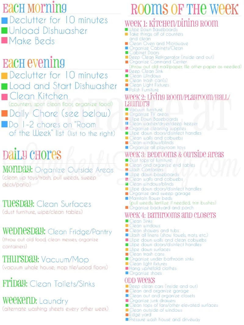 graphic about Free Printable Cleaning Schedule titled How I Crank out My Dwelling Search Skillfully Cleaned (within just underneath an
