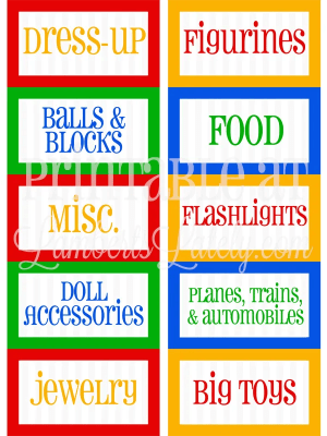 Free playroom organization printables - colorful (red, green, yellow, blue) labels for different toy categories