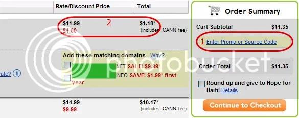 Mua tên miền tại Go Daddy với giá 1$ (08/2011)