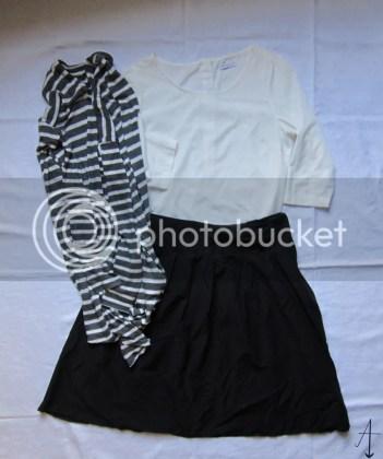 kerstoutfits, kerstoutfit, kleding, rok, zelfgemaakt, vest, blouse, Jacqueline de Jong, H&M, van Haren, kerst