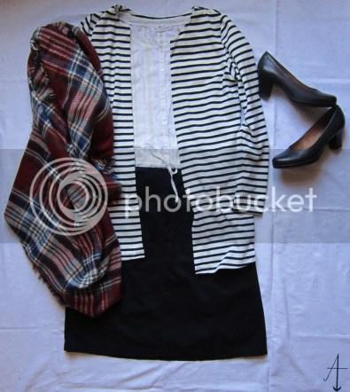 kerstoutfits, kerstoutfit, kerst, outfit, outfits, kleding, kerst, rok, vest, blouse, sjaal, schoenen, zelfgemaakt, H&M, van Haren