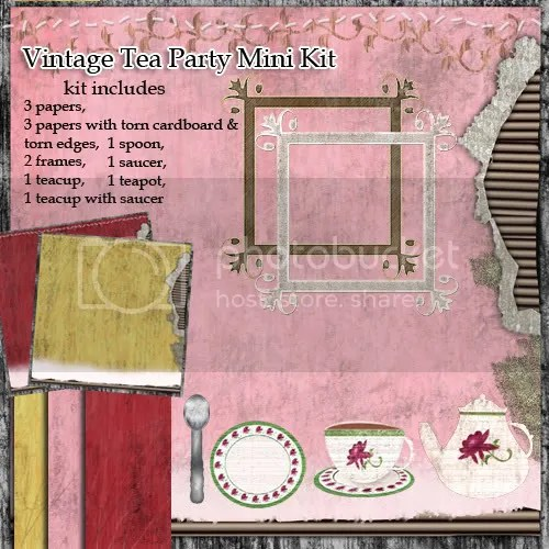 vintage tea party digital scrapbook kit